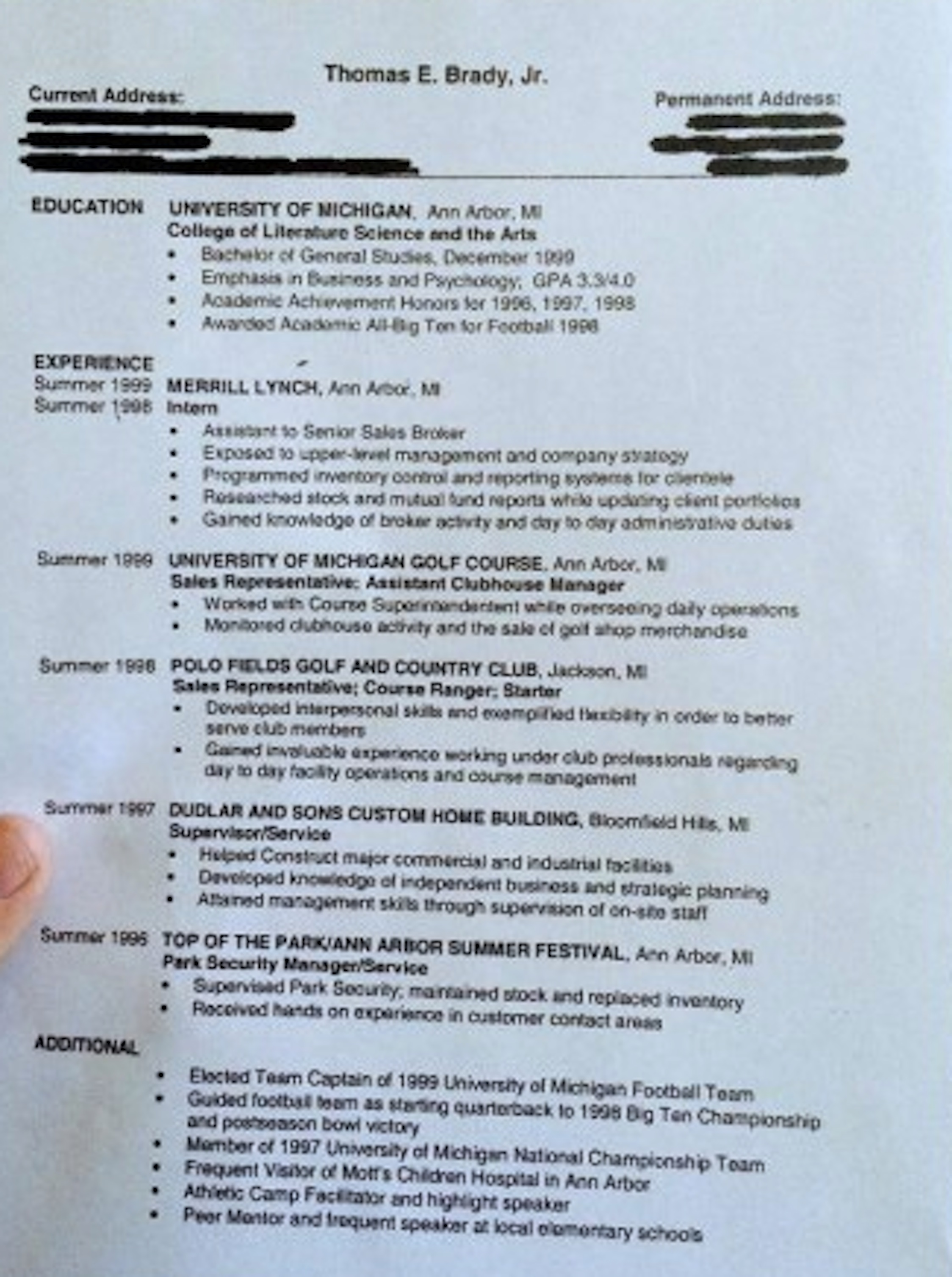 Tom Brady\'s Resume Unvarnished! | Ossurworld\'s Irreverence, Irony ...
